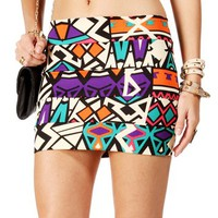 Tan/Multi Color Tribal Banded Skirt