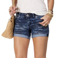 Camo Print Denim Shorts