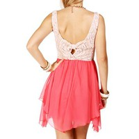 Coral Lace Bow Back Dress
