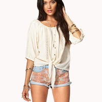Crochet Lace Peaseant Top