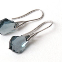 Earrings rhodium plated hooks with gray blue swarovski crystal,  wedding, valentine's, mother's day.