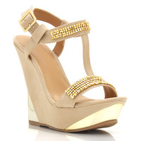 jewel-embellished-wedges GOLD NUDE - GoJane.com