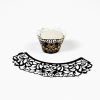 Laser Cut Cupcake Collars in Black (2 dz):Amazon:Kitchen & Dining