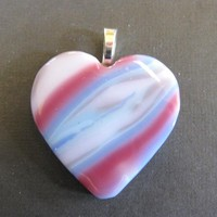 Glass Heart Pendant, Large Heart Pendant - Dreamy - 3898 - $30.00 - Handmade Crafts and Vintage Items by MySassyGlass