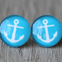 Anchor Studs  Light Blue and White Nautical Glass by ArtisanTree