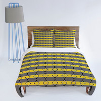 DENY Designs Home Accessories | Lisa Argyropoulos Retro Stripe In Lemon Duvet Cover
