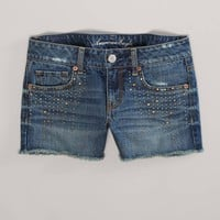 AE Studded Denim Midi Short | American Eagle Outfitters