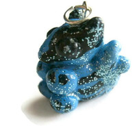 Blue Dragon Charm. Black Markings. Glitter Coated. Polymer Clay