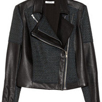 Helmut Lang | Leather and jacquard jacket | NET-A-PORTER.COM