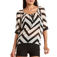 Button-Front Chevron Stripe Blouse: Charlotte Russe