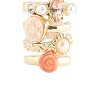 Floral Cameo Stackable Ring Set: Charlotte Russe