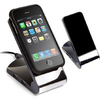 Non-Slip Cell Phone Stand (Black) with USB 2.0 4-Port Hub - Great for iPods, iPhones, Cellphones and MP3 Players:Amazon:Cell Phones & Accessories