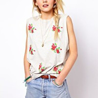 ASOS Vest with Embroidered Flowers at asos.com