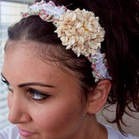 Beige Sequin Flower Red Floral print laced headband