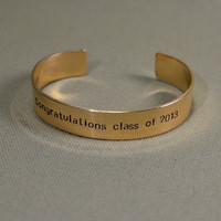 Personalized graduation bracelet in bronze