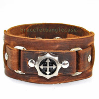 Leather cuff bracelet cross bracelet women cuff bracelet men wrist bracelet silver cross bracelet jewelry bracelet friendship bracelet d-369