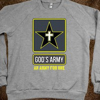 God's Army (Crew Neck Sweatshirt) - An Army for One - Skreened T-shirts, Organic Shirts, Hoodies, Kids Tees, Baby One-Pieces and Tote Bags