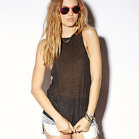 Semi-Sheer Cutout Muscle Tee
