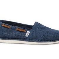 Navy Perforated Bimini Women's Stitchout | TOMS.com