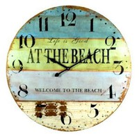 Amazon.com: Life is Good at the Beach Coastal Decor Extra Large Wall Clock - 23-in: Home & Kitchen