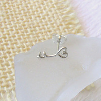 Heart Key Cartilage Earring, Sterling Silver or Gold Filled