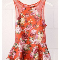 Floral Peplum Top - Orange