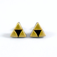 Legend Of Zelda Triforce Stud Earrings, Surgical Steel Posts :D