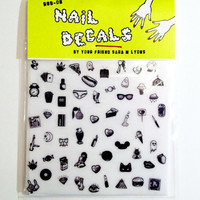 CUTE & SLEAZY black & white nail decals