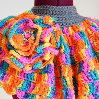 Neon Crochet Capelet with Flower