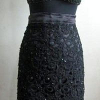 Black Beaded Lace Pencil Skirt