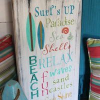 Beach Words Sign Subway Style Coastal Cottage Nursery and Nautical Decor