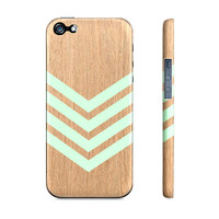 Mint Green Chevron Geometric Wood - Premium Iphone 5 Case