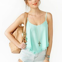 Summer Lace Crop Tank - Mint