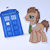 My Little Pony Dr Whooves and Blue Tardis Iron On Embroidery Patch MTCoffinz