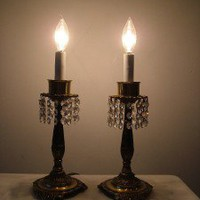 Vintage Pair of Brass Hurricane Shade Dresser Lamps w/ Prism Bead Chain