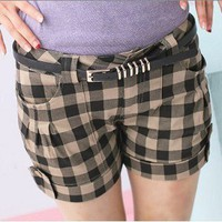 Japanese Fashion Preppy Style Plaid Shorts Apricot