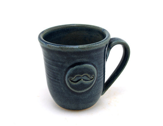 Blue Mug with Mustache by MiriHardyPottery on Etsy