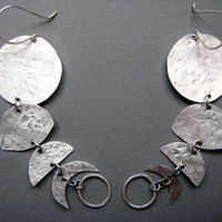Howl- Moon Phase Hammered Metal Dangle Long Earrings- Moon Jewelry