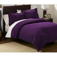 3 Pieces Solid Purple Soft Micro Suede Duvet Cover with Shams Set Queen Size Bedding