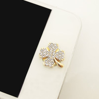 1PC Bling Crystal Flour-clover Lucky Leaf Alloy iPhone Home Button Sticker for iPhone 4,4s,4g, 5, iPad, Cell Phone Charm, Friendship gift