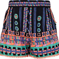 Girls blue aztec print shorts - shorts - girls