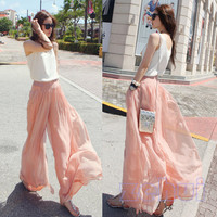 Chiffon Mock Skirt Pants