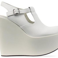 Jil Sander Navy Wedge Buckle Shoe in White White at Solestruck.com