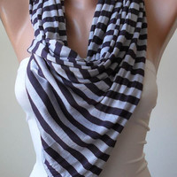 Grey and Black Striped Scarf - Combed Cotton