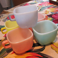 vintage pastel Glasbake coffee cups. set of 5. retro set of colored cups. square Lipton soup cup