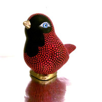 Red and Black Bird: Hand painted Ceramic Bird