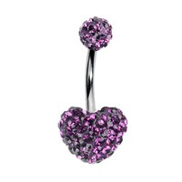 Swarovski Element Heart Belly Ring Swarovski Element Style Crystal Stones Double Gem Belly Button Ring Banana Piercing + 1 Free Belly Retain