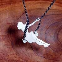 Sterling Silver Swinging Pinup Girl Necklace