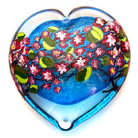 Cherry Blossom Paperweight on Aqua by Shawn Messenger: Art Glass Paperweight - Artful Home