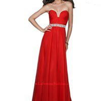 La Femme 18457 RED Strapless Sparkling Circlet Evening Dress SIZES 2,6